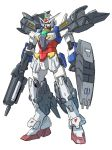 absurdres blue_eyes clenched_hands core_gundam fusion geminass_gundam glowing glowing_eyes gun gundam gundam_build_divers gundam_build_divers_re:rise gundam_wing gundam_wing_dual_story:_g-unit highres holding holding_gun holding_weapon mecha no_humans solo standing sukekiyo56 weapon white_background