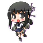 1girl black_eyes black_hair blue_sailor_collar blue_skirt chibi commentary_request fubuki_(kantai_collection) kantai_collection looking_at_viewer low_ponytail lowres machinery open_mouth pac-man_eyes pleated_skirt ponytail sailor_collar school_uniform serafuku short_ponytail sidelocks simple_background skirt smile solo suntail white_background