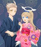 1boy 1girl alvin_granford angel angel_wings blonde_hair blue_eyes blush braid crown_braid earrings feathered_wings fireworks hair_ribbon halo japanese_clothes jewelry kimono light_brown_hair liliana_hart male_focus obi panunpa ponytail pop-up_story ribbon sash smile white_wings wings yellow_eyes yukata