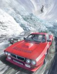2boys aircraft car chasing commentary_request dark_skin ground_vehicle helicopter highres hood hood_up jettoburikku lancia_(brand) lancia_037 looking_to_the_side motion_blur motor_vehicle mountain multiple_boys original partial_commentary peugeot peugeot_205 racing snow vehicle_focus