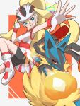 1girl bangs bike_shorts black_shorts blonde_hair blue_eyes blush commentary_request dress gen_4_pokemon gloves hair_between_eyes hand_up helmet highres koruni_(pokemon) long_hair lucario mega_lucario mega_pokemon nuneno open_mouth outstretched_arm pokemon pokemon_(anime) pokemon_(creature) pokemon_xy_(anime) roller_skates shorts skates spread_fingers teeth tongue two-tone_background upper_teeth white_gloves