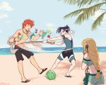 1girl 2boys beach black_hair blindfold blonde_hair blue_sky brown_gloves closed_mouth clouds cup day drinking_straw felix_hugo_fraldarius fingerless_gloves fire_emblem fire_emblem:_three_houses fire_emblem_heroes flower food from_behind fruit glass gloves hair_flower hair_ornament highres holding holding_cup ingrid_brandl_galatea jewelry long_hair multiple_boys necklace open_mouth outdoors redhead rubi_arts sandals short_hair sky sunglasses swimsuit sylvain_jose_gautier twitter_username water watermelon