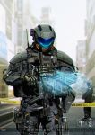 absurdres artist_name city construction_site dated english_text highres hologram looking_down military original power_armor science_fiction zhuyukun2003