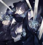 1girl black_hair blood blood_on_face blood_stain blue_flower bouquet brooch bruise cape closed_eyes corpse cuts death flower holding holding_bouquet injury jewelry nishihara_isao pale_skin pixiv_fantasia pixiv_fantasia_fallen_kings rose_(pffk) scratches short_hair solo