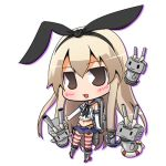 1girl 3others anchor_hair_ornament black_hairband black_neckwear black_panties blonde_hair blue_sailor_collar blue_skirt chibi commentary_request crop_top elbow_gloves full_body gloves grey_eyes hair_ornament hairband highleg highleg_panties kantai_collection long_hair looking_at_viewer lowres machinery microskirt miniskirt multiple_others neckerchief pac-man_eyes panties pleated_skirt rensouhou-chan sailor_collar shimakaze_(kantai_collection) simple_background skirt striped striped_legwear suntail thigh-highs underwear white_background white_gloves