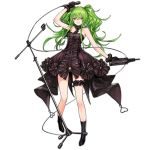 1girl alternate_costume bangs bare_shoulders black_dress black_footwear black_gloves boots calico_m950 dress eyebrows_visible_through_hair floating_hair full_body girls_frontline gloves green_hair grin gun hair_between_eyes holding holding_gun holding_microphone holding_weapon infukun leg_garter long_hair looking_at_viewer m950a_(girls_frontline) microphone microphone_stand official_art parted_lips shadow sidelocks smile solo standing teeth transparent_background twintails weapon yellow_eyes