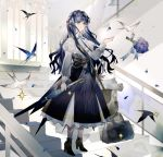 1girl animal_ear_fluff arknights astesia_(arknights) bag bird black_footwear blue_eyes blue_hair blue_skirt bouquet braid breasts closed_mouth commentary corset dress duffel_bag english_commentary flower full_body high-waist_skirt high_heels highres holding holding_umbrella indoors light_smile long_hair long_sleeves medium_breasts ore_lesion_(arknights) petals puffy_long_sleeves puffy_sleeves shoulder_bag skirt smile solo stairs standing strap umbrella white_dress window yuji_(fantasia)