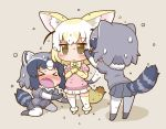 2girls animal_ears black_hair blonde_hair blush bow bowtie brown_eyes common_raccoon_(kemono_friends) eyebrows_visible_through_hair fang fennec_(kemono_friends) fox_ears fox_tail fur_collar gerotan gloves grey_hair kemono_friends multicolored_hair multiple_girls open_mouth raccoon_ears raccoon_tail short_hair short_sleeves skirt smile tail thigh-highs