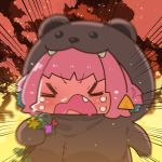 1girl afterimage animal_costume bangs bear_costume blue_hair blush chibi closed_eyes crying dark_sky emphasis_lines eyebrows_visible_through_hair fang hand_up holding holding_microphone idolmaster idolmaster_cinderella_girls microphone motion_blur multicolored_hair open_mouth pink_hair short_hair solo takato_kurosuke tears two-tone_hair upper_body v-shaped_eyebrows yumemi_riamu
