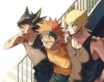 3boys :d aqua_pants arm_around_neck belt black_belt black_hair black_shirt black_tank_top blonde_hair blue_pants brown_eyes bruise closed_eyes collarbone crow_hogan earrings fudou_yuusei grin highlights injury jack_atlas jewelry multicolored_hair multiple_boys open_mouth orange_hair pants print_shirt shirt sidelocks simple_background sleeveless sleeveless_shirt smile spiky_hair stairs standing tank_top torinomaruyaki white_background yellow_tank_top yuu-gi-ou yuu-gi-ou_5d's