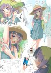 1girl absurdres ames aono_(f_i_s) bangs bare_arms bare_shoulders blue_eyes blush bottle brown_footwear brown_headwear butterfly_net chibi collarbone commentary_request drinking eyebrows_visible_through_hair green_hair grin hand_net hat highres holding holding_bottle insect_cage multicolored_hair multiple_views one_eye_closed open_mouth pointy_ears princess_connect! princess_connect!_re:dive purple_hair sandals smile sun_hat sweat translation_request two-tone_hair water_bottle wiping_sweat