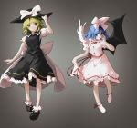 2girls absurdres angel_wings ankle_ribbon asymmetrical_wings bangs black_dress black_footwear black_headwear black_wings blonde_hair blue_eyes blue_hair bow buttons closed_mouth collared_dress demon_wings dress eyebrows_visible_through_hair feathered_wings frilled_dress frills full_body gradient gradient_background hair_bow hand_on_headwear hand_up hat hat_bow highres looking_at_viewer mai_(touhou) medium_hair multiple_girls parted_bangs puffy_short_sleeves puffy_sleeves red_neckwear red_ribbon ribbon sancking_(fatekl) sash shirt short_hair short_sleeves sidelocks sideways_glance skirt_hold touhou touhou_(pc-98) undershirt white_bow white_dress white_legwear white_sash white_shirt white_wings wings yellow_eyes yuki_(touhou)