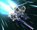 beam_rifle commentary energy_gun flying green_eyes gun gundam highres holding holding_gun holding_weapon ishiyumi looking_ahead mecha no_humans railgun shield shoulder_cannon solo space v2_gundam victory_gundam weapon
