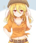 1girl alternate_hair_length alternate_hairstyle animal_ears belt blonde_hair blue_background brown_belt brown_headwear commentary_request flat_cap floppy_ears hair_between_eyes hand_on_hip hat highres long_hair looking_away midriff navel neko_mata orange_shirt pants rabbit_ears red_eyes ringo_(touhou) shirt short_sleeves solo squiggle striped sweat tied_shirt touhou two-tone_background white_background yellow_pants