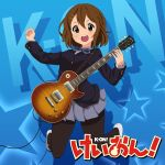 1girl absurdres asanaya bangs black_legwear blue_background brown_eyes brown_hair buttons commentary_request copyright_name electric_guitar grey_skirt guitar hair_ornament hairclip hand_up highres hirasawa_yui holding holding_plectrum instrument k-on! open_mouth pantyhose pleated_skirt plectrum school_uniform shoes short_hair skirt solo teeth tongue upper_teeth