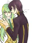 ... 2017 ashford_academy_uniform bangs black_jacket bow brown_hair c.c. code_geass collared_shirt couple dated eyebrows_visible_through_hair green_hair green_neckwear hair_between_eyes hair_bow hand_on_another's_shoulder highres jacket lelouch_lamperouge long_hair long_sleeves looking_back necktie orange_eyes roman_buriki shirt signature sketch speech_bubble sweatdrop v-shaped_eyebrows very_long_hair violet_eyes white_bow white_shirt wing_collar yellow_jacket