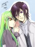 1boy 1girl 2018 belt black_belt blue_background brown_hair c.c. code_geass dated green_hair grey_shirt highres jacket leaning_to_the_side lelouch_lamperouge long_hair long_sleeves open_clothes open_jacket roman_buriki shiny shiny_hair shirt signature straight_hair upper_body very_long_hair violet_eyes whispering white_jacket yellow_eyes
