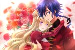 1boy 1girl 2018 :d arms_around_neck bangs black_ribbon blonde_hair blue_eyes blue_hair blurry_foreground bouquet braid braided_ponytail character_name code_geass code_geass:_boukoku_no_akito couple dress eyebrows_visible_through_hair floating_hair flower french_text hair_between_eyes hair_bun hair_ribbon happy_birthday hetero holding holding_bouquet hug hyuuga_akito komaichi leila_(code_geass) long_hair long_sleeves looking_at_viewer open_mouth orange_flower ponytail red_dress red_flower ribbon shiny shiny_hair smile typo upper_body very_long_hair violet_eyes