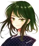 1girl bangs closed_mouth commentary_request eyebrows_visible_through_hair green_eyes green_hair himawari-san japanese_clothes kimono lips looking_at_viewer medium_hair meigetsu_yuu signature simple_background smile solo sugano_manami unmoving_pattern upper_body white_background