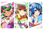 3girls bangs blonde_hair blue_eyes blue_hair blush commentary_request dark_skin flower green_eyes green_hair hair_flower hair_ornament hairband hat highres lillie_(pokemon) long_hair looking_at_viewer mao_(pokemon) multiple_girls open_mouth pokemon pokemon_(anime) pokemon_sm_(anime) shirt short_hair smile suiren_(pokemon) sun_hat swept_bangs taisa_(lovemokunae) twintails white_headwear