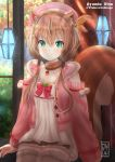 1girl absurdres animal_ears ayunda_risu beret brown_hair character_name collarbone green_eyes hat highres hololive hololive_indonesia jacket lamp looking_at_viewer low_twintails medium_hair smile solo squirrel_ears squirrel_tail tail thigh-highs twintails virtual_youtuber