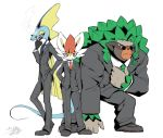 3boys adjusting_neckwear ahoge animal_ears artist_name black_gloves black_jacket black_pants blue_neckwear cigarette cinderace closed_mouth clothed_pokemon commentary_request formal full_body furry gen_8_pokemon glasses gloves green_hair green_neckwear grey_footwear half-closed_eyes hand_in_pocket hand_on_hip hand_up happy heel_up highres holding huge_ahoge inteleon jacket jpeg_artifacts lizard_tail long_sleeves looking_to_the_side male_focus mouth_hold multiple_boys necktie pants pince-nez pokemon pokemon_(creature) rabbit_ears red_neckwear redhead rillaboom shirt shoes short_hair shourin_bonzu signature simple_background smile smoke smoking standing suit sunglasses tail white_shirt yellow_eyes