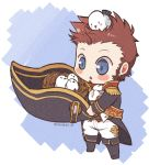 1boy animal_on_head beard belt bird bird_nest bird_on_head blue_eyes blush boosts brown_hair chibi collar cravat epaulettes facial_hair fate/grand_order fate_(series) fringe_trim full_body goatee large_hat long_sleeves male_focus military military_uniform napoleon_bonaparte_(fate/grand_order) on_head pants shioren_0 sideburns simple_background solo uniform white_pants