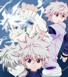 absurdres bangs blue_eyes blue_shirt collage highres hunter_x_hunter killua_zoldyck long_sleeves looking_at_viewer messy_hair shirt shotenma229 silver_hair smile spiky_hair t-shirt tank_top turtleneck white_hair white_shirt yo-yo