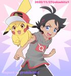 1boy :d animalization antenna_hair artist_name ash_ketchum bangs black_hair blue_eyes clenched_hand commentary dated eyelashes gen_1_pokemon goh_(pokemon) hair_ornament hatted_pokemon highres male_focus okaohito1 open_mouth outline pants pikachu pointing pokemon pokemon_(anime) pokemon_(creature) pokemon_swsh_(anime) repost_notice short_sleeves side_slit smile teeth tongue