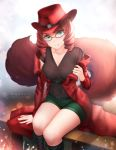 1girl artist_name belt belt_buckle blurry blurry_background blush boots breasts buckle collarbone dot_nose drill_hair eyebrows_visible_through_hair fluffy gigamessy glasses green_eyes green_shorts hat jacket looking_at_viewer naughty_face original outdoors patreon_username red_headwear red_jacket redhead short_shorts shorts sitting solo tail taking_off thighs v-neck