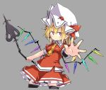 1girl black_legwear blonde_hair blush commentary_request cowboy_shot cropped_legs crystal flandre_scarlet grey_background hat hat_ribbon holding holding_spear holding_weapon laevatein long_hair looking_at_viewer mob_cap necktie noya_makoto outstretched_arm pointy_ears polearm red_eyes red_ribbon red_skirt red_vest ribbon side_ponytail simple_background skirt solo spear thigh-highs tie_clip touhou vest weapon white_headwear wings yellow_neckwear