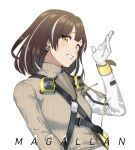 1girl arknights bangs breasts brown_hair character_name commentary earrings fikkyun gloves grey_sweater grin hand_up highres jewelry long_sleeves looking_at_viewer magallan_(arknights) multicolored_hair ribbed_sweater short_hair simple_background small_breasts smile solo streaked_hair sweater turtleneck turtleneck_sweater upper_body white_background white_gloves white_hair yellow_eyes