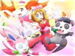 1girl :d bangs blue_eyes blush bow braixen brown_hair choker commentary_request dress eyebrows_visible_through_hair gen_6_pokemon gloves gu-rahamu_omega_x hair_bow happy open_mouth outstretched_arms pancham pink_bow pokemon pokemon_(anime) pokemon_(creature) pokemon_xy_(anime) red_bow serena_(pokemon) smile sylveon tongue white_gloves