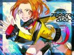 1girl 7th_dragon_(series) 7th_dragon_2020-ii dated destroyer_(7th_dragon_2020) goggles goggles_around_neck grin jacket looking_at_viewer nishihara_isao orange_eyes orange_hair running short_shorts shorts smile solo teeth torn_clothes torn_shorts yellow_jacket