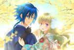 1boy 1girl :d animal_on_shoulder bangs blonde_hair blue_eyes blue_hair blue_kimono blurry_foreground braid braided_ponytail cat_on_shoulder code_geass:_boukoku_no_akito couple eyebrows_visible_through_hair floating_hair floral_print flower from_behind hair_between_eyes hair_flower hair_ornament hetero hyuuga_akito japanese_clothes kimono komaichi leila_(code_geass) lens_flare long_hair looking_at_viewer looking_back open_mouth ponytail print_kimono shiny shiny_hair smile twitter_username upper_body very_long_hair violet_eyes white_flower yellow_flower yukata
