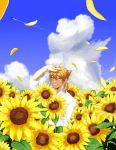 1boy absurdres aircraft airplane bad_hands bangs blue_sky brown_eyes brown_hair clouds cloudy_sky collared_shirt commentary_request condensation_trail day eyebrows_visible_through_hair field flower flower_field fushimi_gaku grin hair_between_eyes highres jewelry looking_at_viewer low_ponytail male_focus mole mole_under_eye nijisanji object_hug outdoors petals ponytail ring shirt short_sleeves sky smile solo sunflower tsumetsume_zerii white_shirt yellow_flower