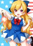 1girl american_flag american_flag_background blonde_hair blue_bow blue_dress bow bowtie breasts cirno cirno_(cosplay) clownpiece collared_shirt cosplay dress eyebrows_visible_through_hair fairy_wings fire flag_background hair_bow highres long_hair looking_at_viewer mary_janes open_mouth red_neckwear ruu_(tksymkw) shirt shoes socks solo star_(symbol) torch touhou very_long_hair violet_eyes white_legwear wings