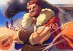 1boy arm_guards armor beard blue_sky cape crossed_arms facial_hair fate/grand_order fate_(series) fur_cape fur_collar grin horse iskandar_(fate) leather muscle poligon_(046) redhead reins saddle sand short_hair sky smile
