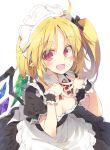 1girl ahoge alternate_costume apron black_dress black_scrunchie blonde_hair breasts detached_collar downblouse dress enmaided fangs flandre_scarlet hair_ornament hair_scrunchie highres long_hair looking_at_viewer maid maid_headdress open_mouth pointy_ears puffy_short_sleeves puffy_sleeves red_eyes red_neckwear satou_kibi scrunchie short_sleeves side_ponytail simple_background slit_pupils small_breasts smile solo touhou waist_apron white_background wings wrist_cuffs