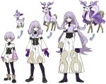 crossover deerling full_body gen_5_pokemon heterochromia long_hair male_focus nishihara_isao pixiv_fantasia pixiv_fantasia_sword_regalia pokemon pokemon_(creature) purple_hair serini_(pixiv_fantasia) short_hair smile standing sugimori_ken_(style) violet_eyes yellow_eyes younger