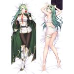 1girl ass azur_lane bangs bare_shoulders barefoot belt bikini black_belt black_bikini black_gloves black_legwear breasts cape crop_top dakimakura dress erspace eyewear_on_head flower gloves green_cape green_hair hat holding holding_flower large_breasts littorio_(azur_lane) long_hair looking_at_viewer lying neckwear_between_breasts on_back on_stomach pantyhose parted_bangs red_neckwear rose sarong shirt smile swimsuit thigh_strap thighs tied_shirt white_dress white_footwear