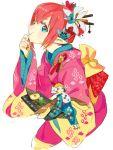 2girls blonde_hair blue_eyes eating fairy flower hair_flower hair_ornament hair_up japanese_clothes kimono licorice_(pixiv_fantasia) minigirl multiple_girls nishihara_isao pixiv_fantasia pixiv_fantasia_sword_regalia pointy_ears red_nails redhead sketch yukata