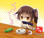 1girl artist_name box brown_eyes brown_hair cat chibi commentary_request instrument japanese_clothes kaga_(kantai_collection) kantai_collection long_hair music playing_instrument polka_dot polka_dot_background side_ponytail solo table taisa_(kari) tasuki tube twitter_username upper_body yellow_background