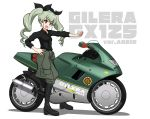 1girl :d absurdres anchovy_(girls_und_panzer) anzio_(emblem) anzio_military_uniform bangs black_neckwear black_ribbon boots clothes_around_waist commentary_request country_connection drill_hair emblem eyebrows_visible_through_hair gilera_cx125 girls_und_panzer green_hair grey_pants ground_vehicle hair_ribbon hand_on_hip head_tilt highres jacket_around_waist kano_(nakanotakahiro1029) knee_boots logo long_hair looking_at_viewer motor_vehicle motorcycle necktie open_mouth outstretched_arm pants partial_commentary red_eyes ribbon shadow simple_background sleeves_rolled_up smile solo translated twin_drills twintails white_background