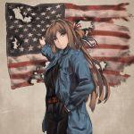 american_flag arms_up belt brown_hair flag girls_frontline green_eyes jacket looking_at_viewer m1903_springfield_(girls_frontline) persocon93 smile
