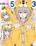 1girl 3 5 akumano_riddle animal_costume animal_print blue_eyes blush commentary frown girls_und_panzer hashtag highres itsumi_erika long_sleeves looking_at_viewer number onesie silver_hair sweatdrop tiger_costume tiger_print translated yuri