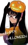 1girl arm_up bangs black-framed_eyewear black_gloves black_hair black_shirt breasts closed_mouth commentary elbow_gloves english_text expressionless from_side glasses gloves glowing halloween halloween_costume happy_halloween himawari-san himawari-san_(character) jack-o'-lantern large_breasts looking_at_viewer pink_ribbon pumpkin pumpkin_on_head ribbon shirt signature simple_background solo sugano_manami violet_eyes white_background