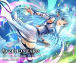 1girl :d armpits asuna_(sao-alo) bangs blue_dress blue_eyes blue_hair blue_sky boots braid breasts clouds cloudy_sky commentary_request day detached_sleeves dress eyebrows_visible_through_hair falling_petals flying from_side gloves grey_footwear hokuyuu holding holding_sword holding_weapon long_hair looking_at_viewer multicolored multicolored_clothes multicolored_dress official_art open_mouth outdoors pointy_ears purple_legwear sky smile solo sword sword_art_online thigh-highs tree weapon white_dress zenonzard