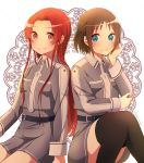 2girls absurdres black_legwear blue_eyes brown_hair closed_mouth dress enokimo_me grey_dress grey_jacket hair_intakes highres jacket long_hair long_sleeves multiple_girls pleated_dress red_eyes redhead ronye_arabel shiny shiny_hair short_dress short_hair sitting smile straight_hair sword_art_online thigh-highs tiese_schtrinen very_long_hair zettai_ryouiki