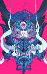 blue_oni chun_lo demon demon_horns disembodied_head extra_eyes face fangs glowing highres horns limited_palette looking_at_viewer multicolored oni original pink_background pink_eyes pointy_ears red_eyes shattered simple_background smoke solo teeth third_eye translation_request tusks